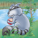 Cuddly Critters cute cartoon animal character: Rascal Raccoon