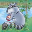 Cuddly Critters cute cartoon animal character: Rascal Raccoon
