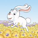 Cuddly Critters cute cartoon animal character: Rodney Rabbit - field of flowers