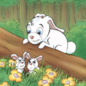 Cuddly Critters cute cartoon animal character: Rodney Rabbit - babysitting