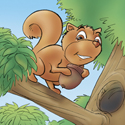 Cuddly Critters (tm) cute cartoon animal character: Scrappy Squirrel